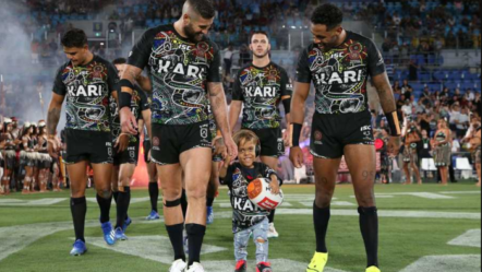 Australian bullied boy leads out all-star rugby team in front of cheering fans in Cbus Super Stadium